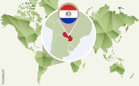Infographic for Paraguay, detailed map of Paraguay with flag. Vector Info graphic green map. Illustration