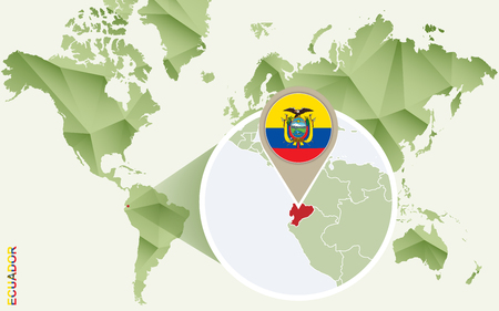 Infographic for Ecuador, detailed map of Ecuador with flag. Vector Info graphic green map.