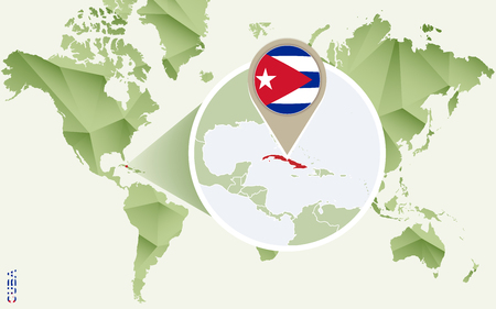 Infographic for Cuba, detailed map of Cuba with flag. Vector Info graphic green map. Illustration