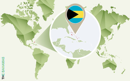 Infographic for The Bahamas, detailed map of The Bahamas with flag. Vector Info graphic green map.