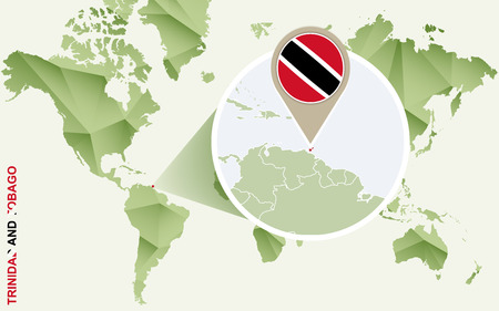 Infographic for Trinidad and Tobago, detailed map of Trinidad and Tobago with flag. Vector Info graphic green map.