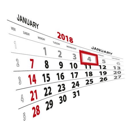 January 4, highlighted on 2018 calendar. Week starts from Sunday. Vector Illustration.