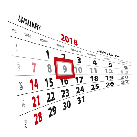January 9, highlighted on 2018 calendar. Week starts from Sunday. Vector Illustration.