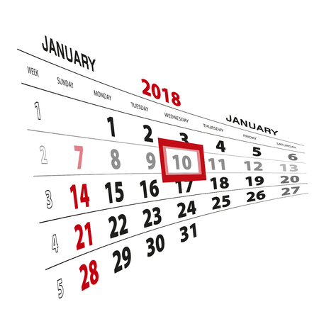 January 10, highlighted on 2018 calendar. Week starts from Sunday. Vector Illustration. Illustration