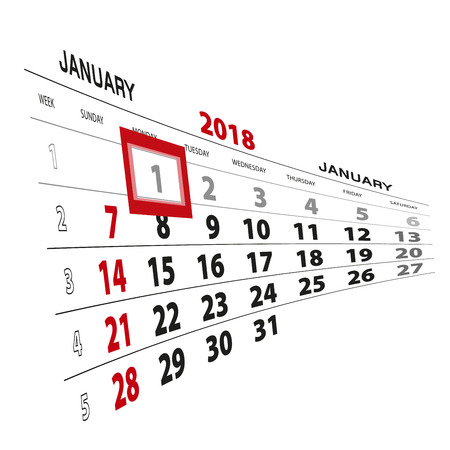 January 1, highlighted on 2018 calendar. Week starts from Sunday. Vector Illustration.