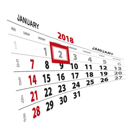 January 2, highlighted on 2018 calendar. Week starts from Sunday. Vector Illustration. Illustration