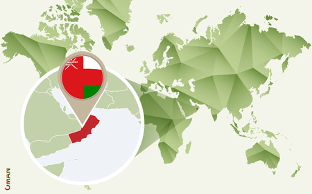 Infographic for Oman, detailed map of Oman with flag. Vector Info graphic green map.
