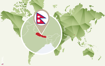 Infographic for Nepal, detailed map of Nepal with flag. Vector Info graphic green map.