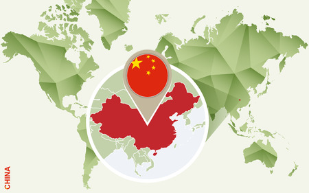 Infographic for China, detailed map of China with flag. Vector Info graphic green map.