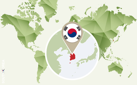Infographic for South Korea, detailed map of South Korea with flag. Vector Info graphic green map.
