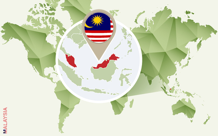 Infographic for Malaysia, detailed map of Malaysia with flag. Vector Info graphic green map. Vector Illustration