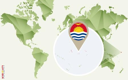Infographic for Kiribati, detailed map of Kiribati with flag. Vector Info graphic green map.