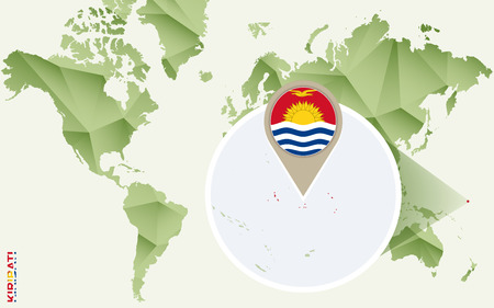 Infographic for Kiribati, detailed map of Kiribati with flag. Vector Info graphic green map.