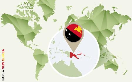 Infographie de la Papouasie-Nouvelle-Guinée, carte détaillée de la Papouasie-Nouvelle-Guinée avec drapeau. Carte graphique de vecteur d'informations vert.