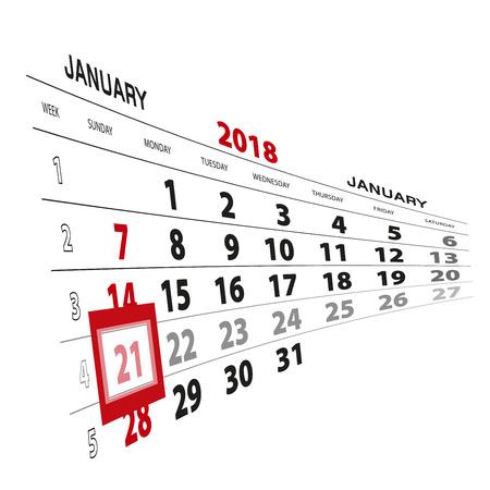 January 21, highlighted on 2018 calendar. Week starts from Sunday. Vector Illustration.