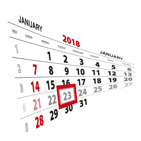 January 23, highlighted on 2018 calendar. Week starts from Sunday. Vector Illustration.