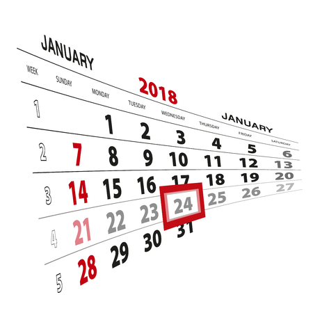 January 24, highlighted on 2018 calendar. Week starts from Sunday. Vector Illustration.