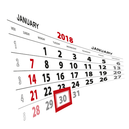 January 30, highlighted on 2018 calendar. Week starts from Sunday. Vector Illustration.