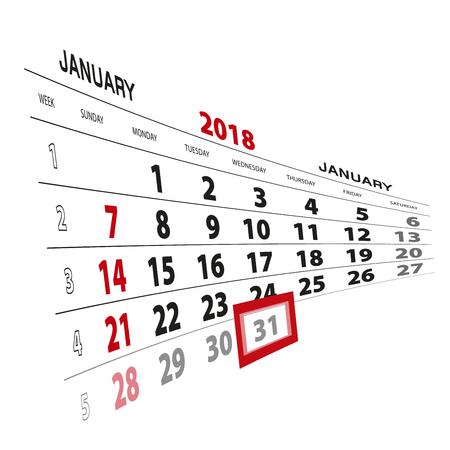 January 31, highlighted on 2018 calendar. Week starts from Sunday. Vector Illustration. Illustration
