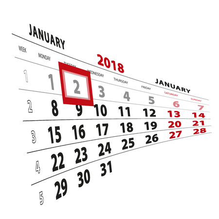 2 January highlighted on calendar 2018. Week starts from Monday. Vector Illustration.