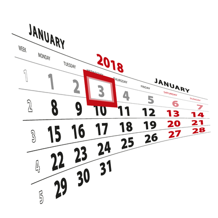 3 January highlighted on calendar 2018. Week starts from Monday. Vector Illustration.