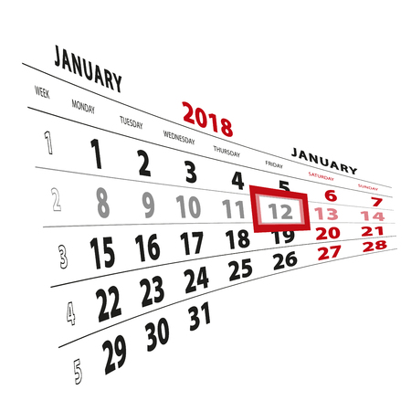 12 January highlighted on calendar 2018. Week starts from Monday. Vector Illustration.