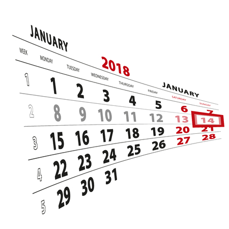 14 January highlighted on calendar 2018. Week starts from Monday. Vector Illustration.
