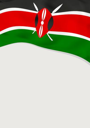 Leaflet design with flag of Kenya vector template.