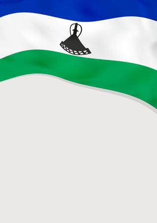 Leaflet design with flag of Lesotho vector template. Illustration