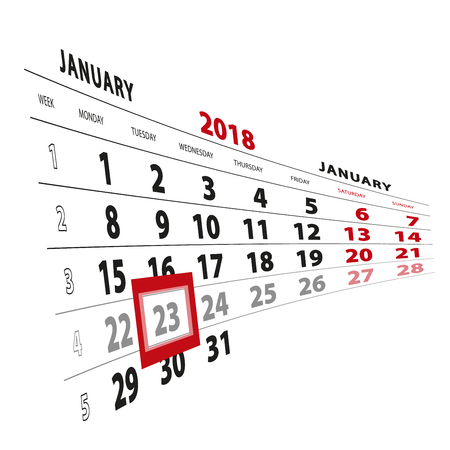 23 January highlighted on calendar 2018. Week starts from Monday. Vector Illustration.