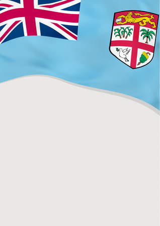Leaflet design with flag of Fiji. Vector template.
