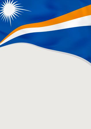 マーシャル諸島の旗を持つリーフレットデザイン。ベクトル テンプレート。