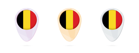 Map markers with flag of Belgium, 3 color versions. Illustration