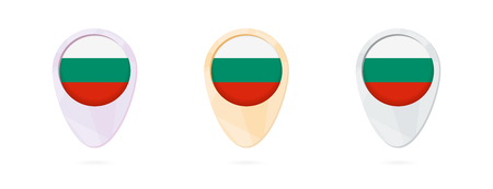 Map markers with flag of Bulgaria, 3 color versions.