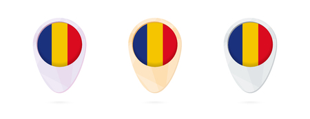 Map markers with flag of Romania, 3 color versions.