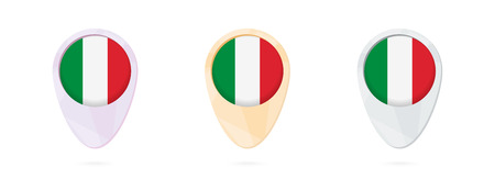 Map markers with flag of Italy, 3 color versions.