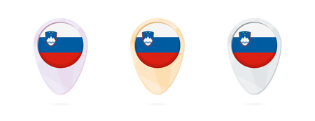 Map markers with flag of Slovenia, 3 color versions. Illustration