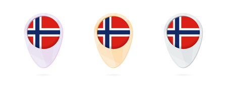 Map markers with flag of Norway, 3 color versions.
