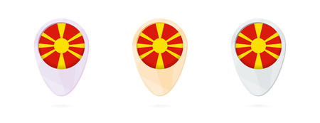 Map markers with flag of Macedonia, three color versions. Illustration