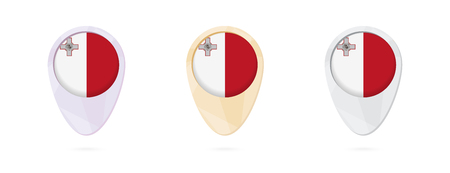 Map markers with flag of Malta, 3 color versions.