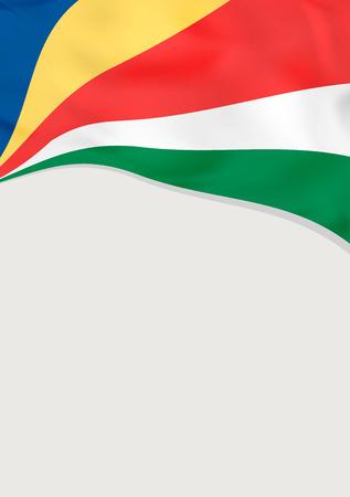 Folderontwerp met vlag van Seychellen. Vector sjabloon. Stock Illustratie