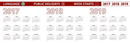 2017, 2018, 2019 year vector calendar in Kazakh language, week starts on Sunday.