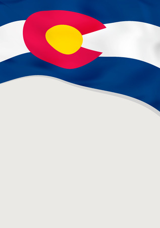 Leaflet design with flag of Colorado, US. Vector template.