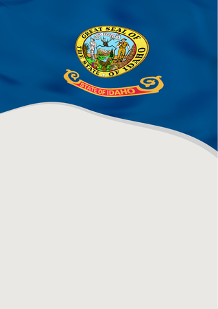 Leaflet design with flag of Idaho, US. Vector template.