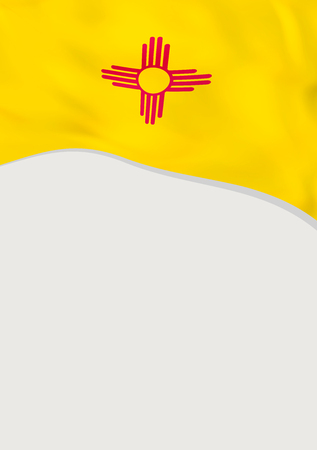 Leaflet design with flag of New Mexico, US. Vector template.
