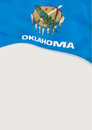 Leaflet design with flag of Oklahoma, US. Vector template.