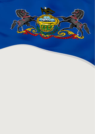 Leaflet design with flag of Pennsylvania, US. Vector template.