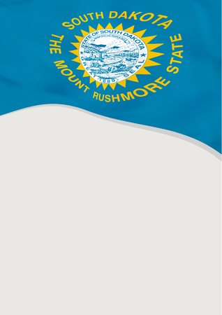 Leaflet design with flag of South Dakota, US. Vector template.