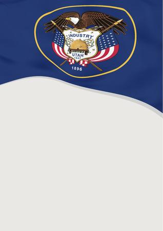Leaflet design with flag of Utah, US. Vector template. 向量圖像