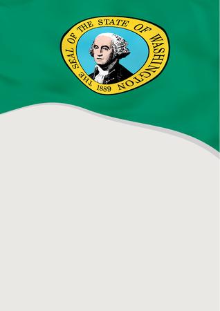 Leaflet design with flag of Washington, US. Vector template. Illustration